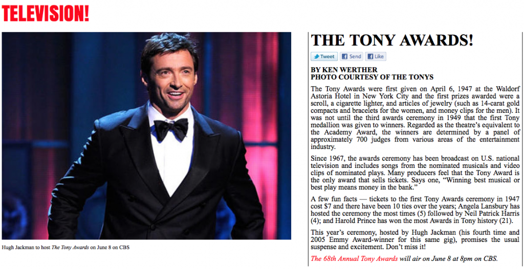 Ken Werther - The Tony Awards - LAArtsOnline